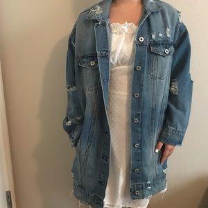 Jackets & Blazers - Long distressed jean jacket